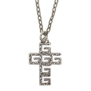 """New Authentic Gucci G Cube Cross Necklace 27"""""""